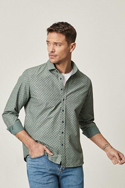 Erkek Yeşil-Lacivert Tailored Slim Fit Dar Kesim İtalyan Yaka Baskılı Gömlek