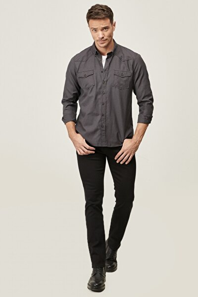 Erkek Siyah 360 Derece Her Yöne Esneyen Rahat Slim Fit Pantolon