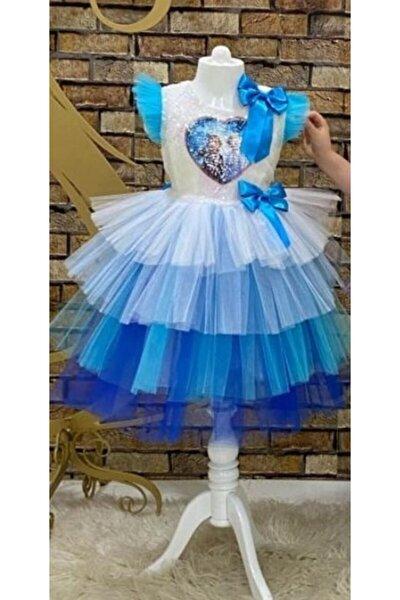 Etekleri Tütülü Mavi Elsalı Tokalı Elbise