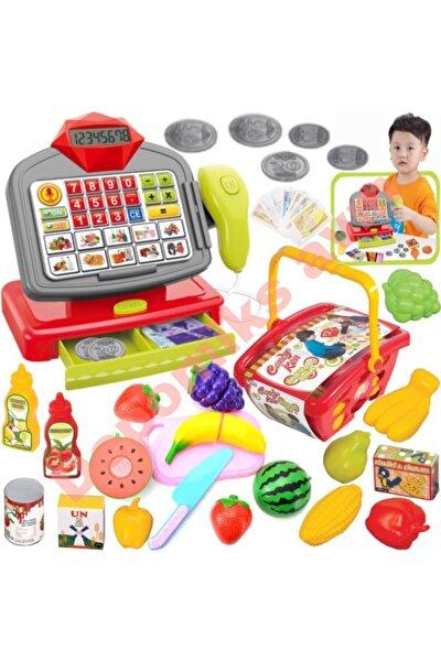 Oyuncak Yazar Kasa Pilli Sesli Barkod Okuyuculu + Market Sepeti + Kesilebilen Meyve Sebze Set