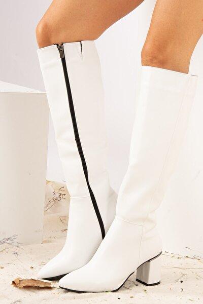 Beyaz Suni Deri Kadın Çizme J518111409
