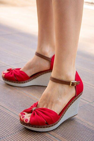 Kırmızı Kadın Dolgu Topuklu Ayakkabı 9674040505