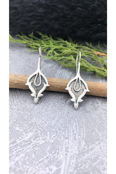 El Yapımı Oksitli Yaprak Desenli Özel Tasarım 925 Ayar Gümüş Küpe
