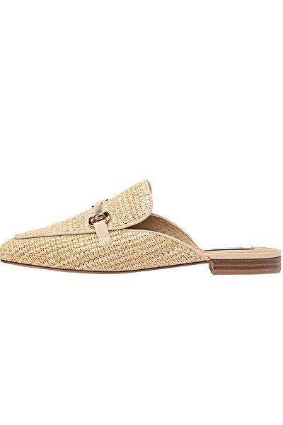 Kadın Kum Rengi Detaylı Rafya Arkası Açık Ayakkabı 19103770