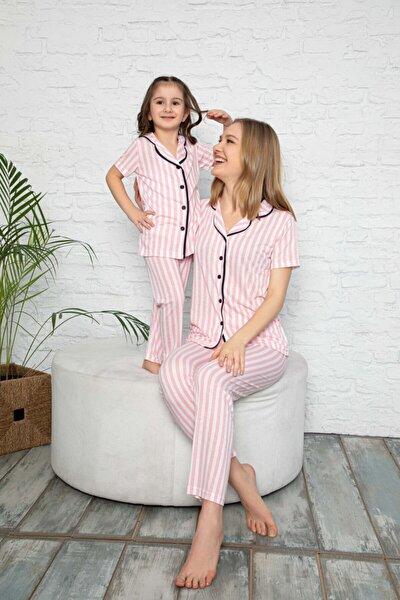 Anne Kız Pembe Çizgili Desen Pijama Kombinleri