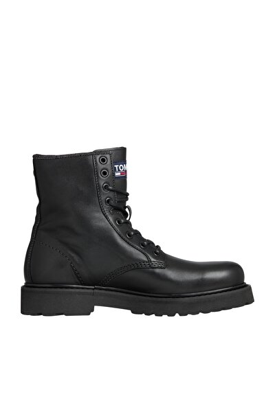 Erkek Siyah Bot & Bootie Mens Deri Lace Up Boot EM0EM00547