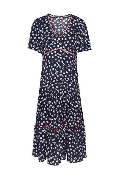Kadın Mavi Elbise Tjw Prınted Lace Trım Dress DW0DW08468
