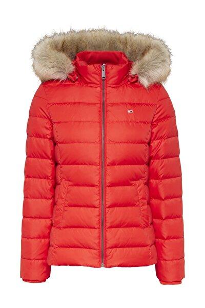 Kadın Kırmızı Mont Tjw Basıc Hooded Down Jacket DW0DW08588