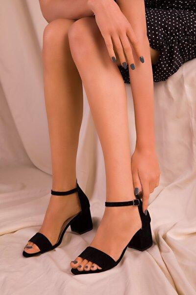 Siyah Süet Kadın Klasik Topuklu Ayakkabı 14529