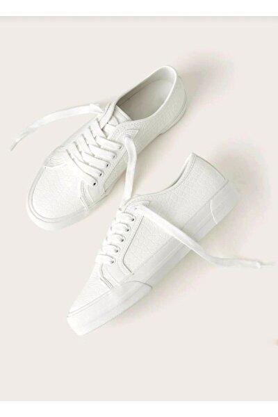 Kadın Beyaz Kroko Efektli Günlük Ayakkabı
