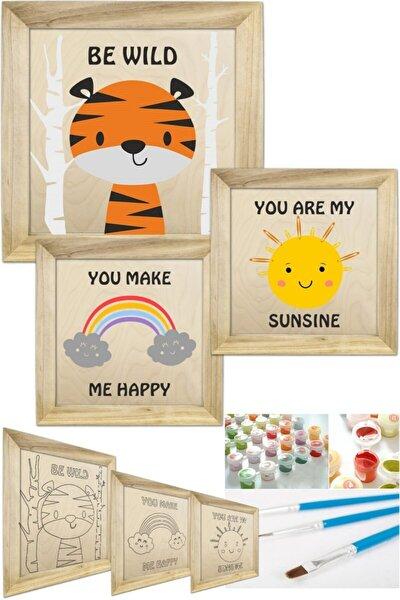 Sayılarla Boyama Seti Çerçeveli 3'lü Tablo Set Çocuk Ve Bebek Odası