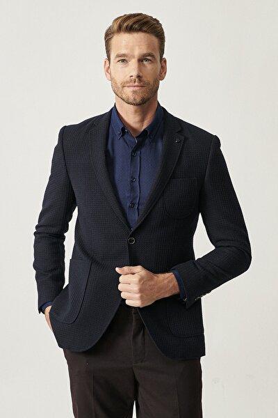 Erkek Lacivert Slim Fit Kombinli Takım Elbise