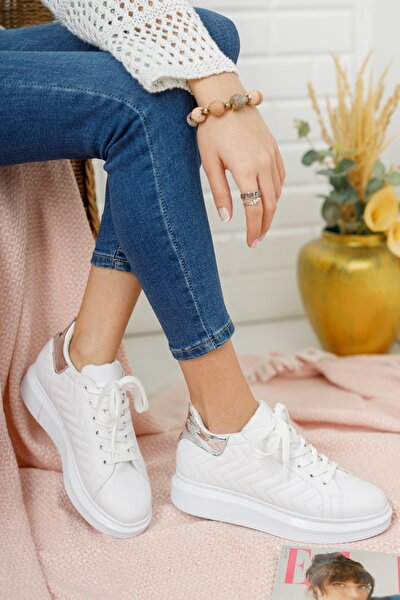 Kadın Beyaz Platin Dikişli Sneaker Md1001-101-0005