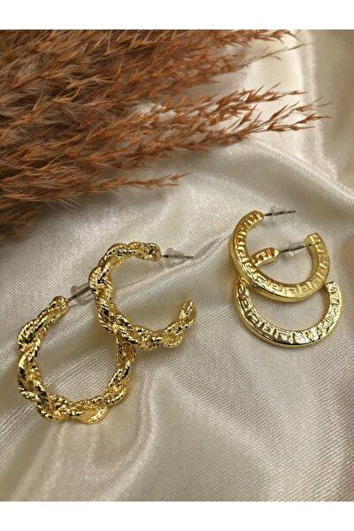 Kadın Gold Renk İkili Aşk Küpeleri