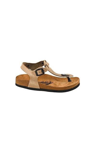Hakiki Deri Bej Kadın Sandalet
