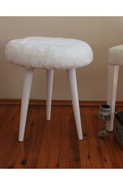 Gürgen Ahşap Retro Ayak Dekoratif Beyaz Pelüş Puf Tabure Bench Koltuk Sandalye