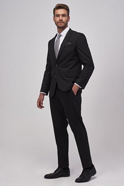 Erkek Siyah Regular Fit Siyah Takım Elbise