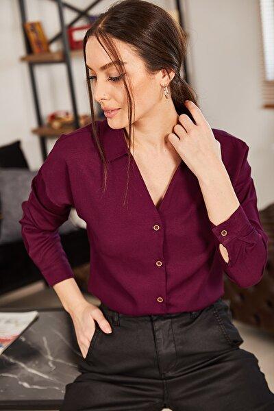 Kadın Mürdüm V Yaka Uzun Kol Gömlek ARM-21K001085
