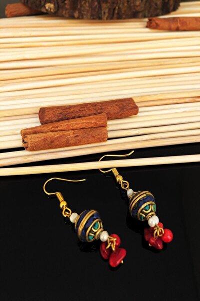 Dr Stone Doğaltaş El Yapımı Inci , Mercan Ve Lapis Lazuli Taşı Nepal Kadın Küpe Ktdr42