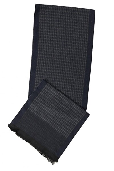 Erkek Lacivert-gri Gri-lacivert Desenli Örme Atkı