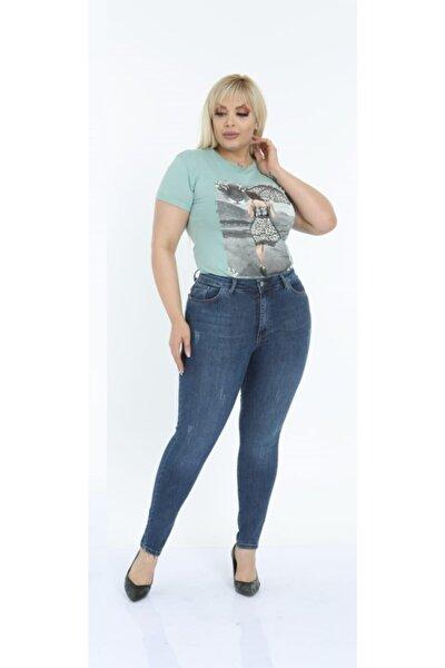 Kadın Lacivert  Battal Büyük Beden Likralı Kot Jeans Pantolon