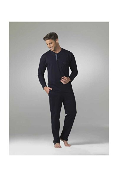 Erkek Uzun Kol Çeyiz Lacivert Pijama Takım 5454