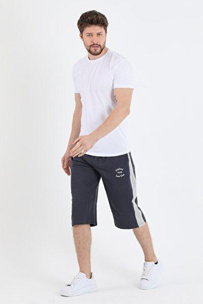 Erkek Gri Rahat Kesim Yanı Şeritli Uzun Kapri Şort