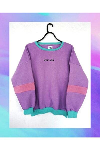 Kadın Erkek Lila Oversize Sweatshirt
