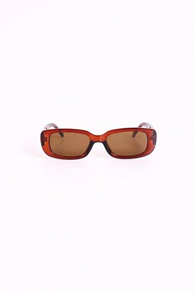 Vintage Kahverengi Dikdörtgen Güneş Gözlüğü