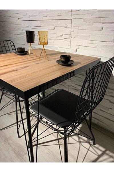 Tekir 2 Kişilik Yemek Masası Takımı-mutfak Masası Takımı-ceviz