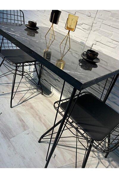 Ezgi 2 Kişilik Yemek Masası Takımı-mutfak Masası Takımı-siyah Mermer Desenli