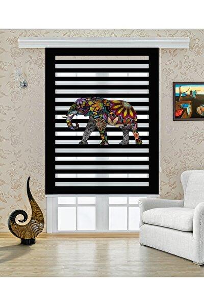 Dijital Baskılı Zebra Stor Perde Rengarenk Fil Desenli Dp-488