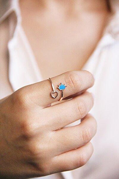 Taç Ve Kalp Motifli Gümüş Rose Yüzük - Y016201