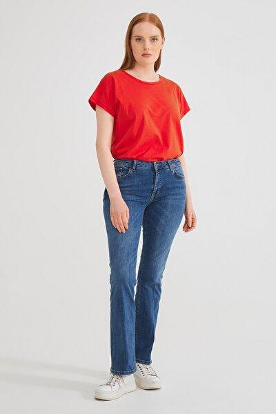 Kadın Lacivert Yarım İspanyol Paçalı Pantolon