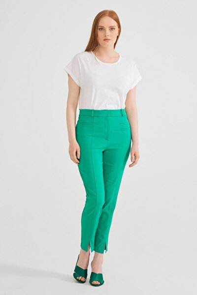 Kadın Yeşil Fleto Cepli Pantolon