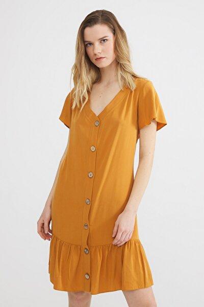 Kadın Safran Büzgülü Tencel Elbise