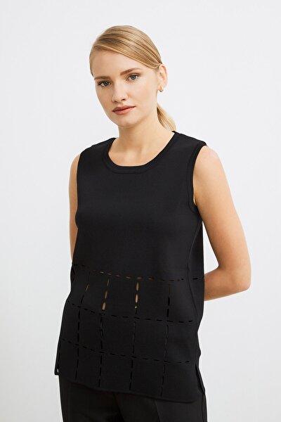 Kadın Siyah Yanları Yırtmaçlı Triko Bluz