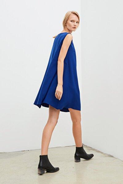 Kadın Saks A Kesim Krep Elbise