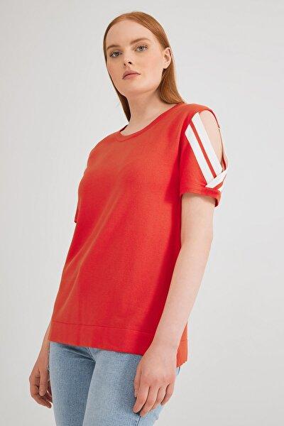 Kadın Coral Omuzları Açık Triko Bluz