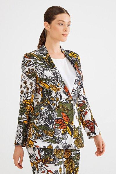 Kadın Haki Desenli Keten Ceket