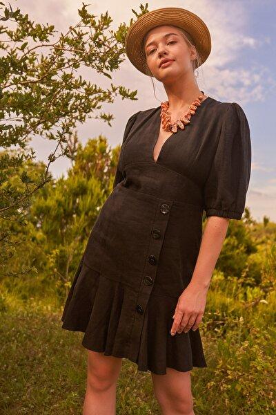 Kadın Siyah Düğme Detaylı Keten Elbise