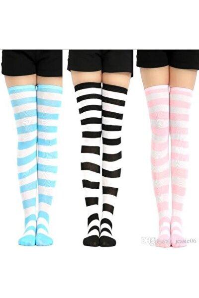 Diz Üstü Çemberli Çorap 3 Çift