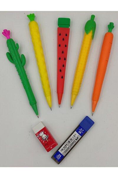 Eğlenceli Versatil Kalemler 5 Adet. + Faber Castell Silgi + 0,7mm Uç