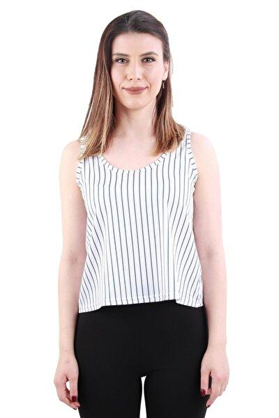 Boyuna Çizgili Askılı Bluz, Beyaz (B20-1518 Byn 05)