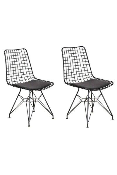 Roma 2'li Siyah Tel Sandalye- Mutfak Sandalyesi