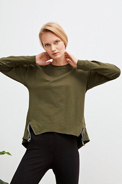 Kadın Haki Fermuar Detaylı Sweatshirt