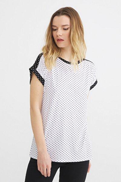 Kadın Beyaz Kontrast Renkli Puantiyeli Bluz