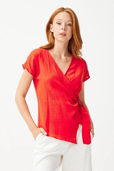 Kadın Coral Kruvaze Kapamalı Keten Bluz