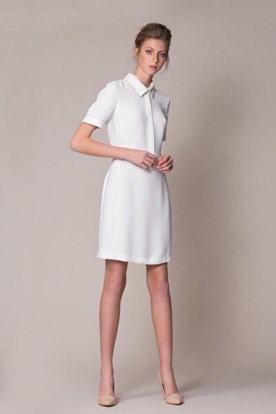 Kadın Ekru Kısa Kollu Elbise M18YEW05813C7