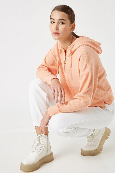 Kadın Pembe Pamuklu Kapüşonlu Fermuar Detaylı Sweatshirt